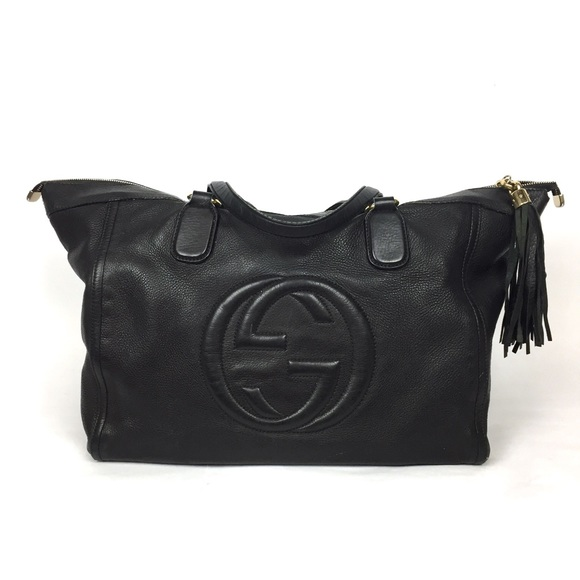 0a28f9468da Gucci Handbags - GUCCI Soho Large Black Pebbled Leather Tote Purse